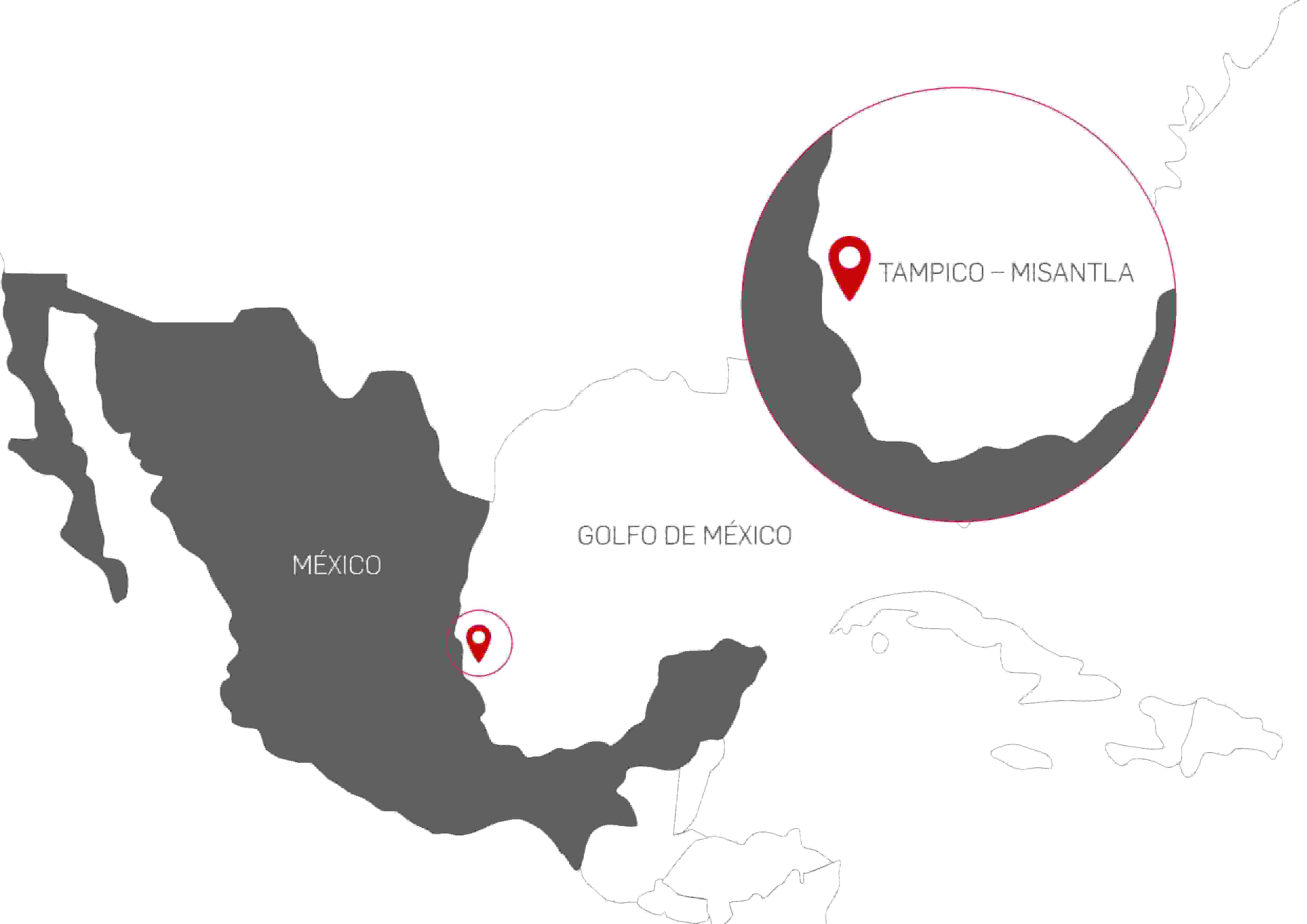 Location of hydrocarbon blocks in Mexico