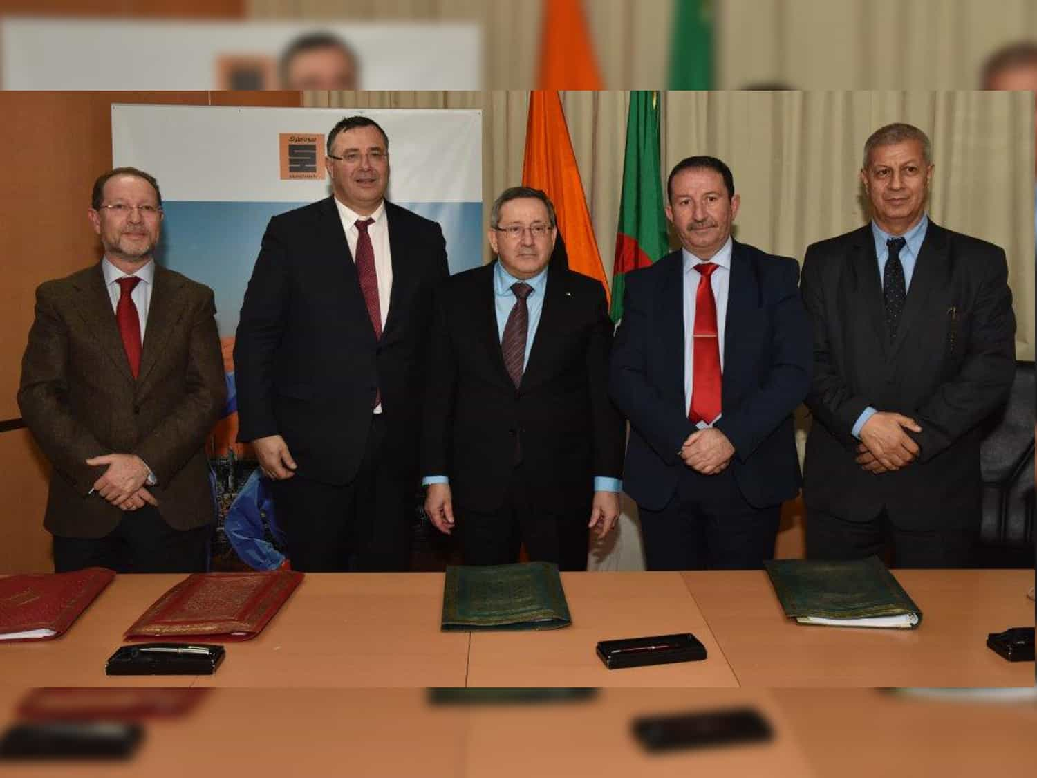 Francisco Claver (Head of Cepsa Operations in Algeria), Abdelmoumen Ould Kaddour, (CEO of Sonatrach), Patrick Pouyanné, (CEO of Total) and Arezki Hocini (Chairman of Alnaft)
