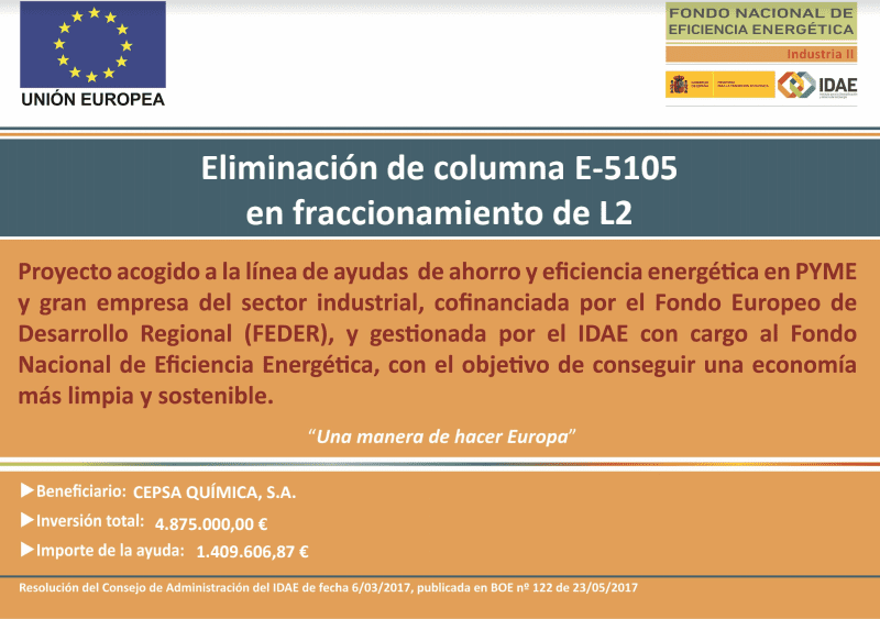 Elimination of colum E-5105 in line 2 fractionation project.